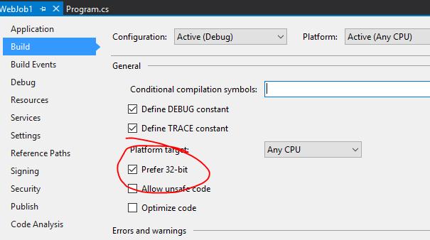Set Azure Webjob to run in 64-bit Mode - Armin Kalajdzija Posts