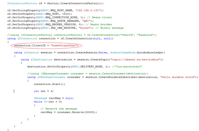 IBM XMS error CWSMQ0115E - Creating durable subscriber - Damir