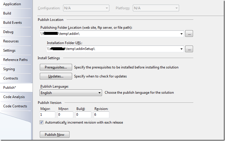 Publishing of Outlook 2007 AddIn with ClickOnce and VS2008