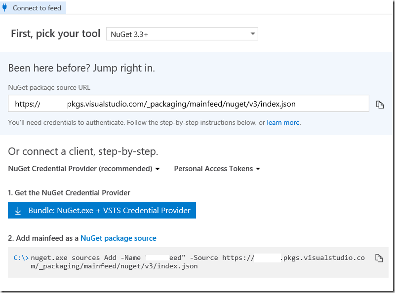 Working with your corporate NUGET package feed in Visual