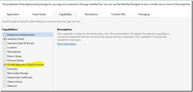 Windows Store App connection to local network not working